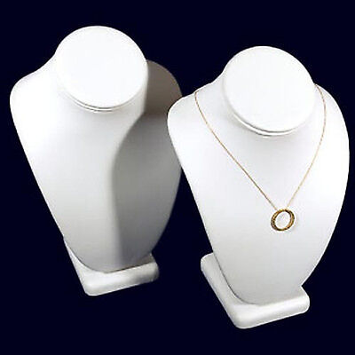 2 White Leather Necklace Jewelry Display Busts 10