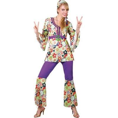 Hippie Chick Plus Size Large 18-20 Hippy Trouser Suit Fancy Dress Ladies Costume - Plus Size Hippie Fancy Dress