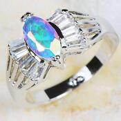 White Gold Mystic Topaz Ring