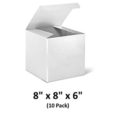 White Cardboard Tuck Top Gift Boxes With Lids 8x8x6 10 Pack