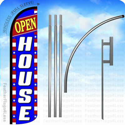 Open House - Windless Swooper Flag 15 Kit Feather Banner Sign - Bz