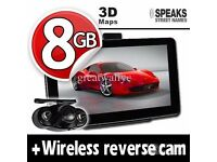 7'' Truck & Car GPS Navigation System+Wireless Reverse Camera+8GB+EU UK POI Maps