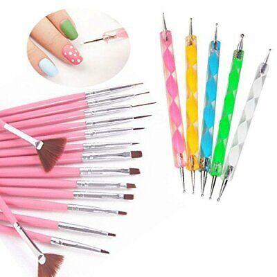 20pcs Nail Art Design Set Dotting Painting Drawing Polish Brush Pen Tools Pink Health & Beauty
