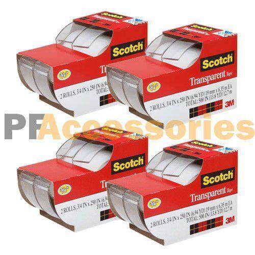 "8x 3M Scotch Clear Office Transparent Tape 3/4"" 250"" w/ Desktop Dispenser Lot"