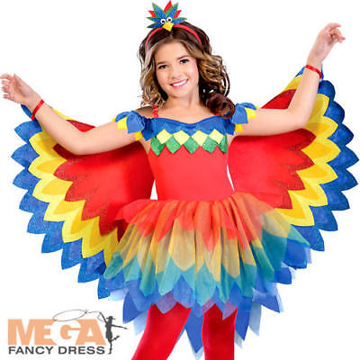 Girls Parrot Costume (Pretty Parrot Fairy Girls Fancy Dress World Book Day Anime Kids Childs)