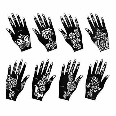 Henna Tattoo Stencil / Temporary Temples Set 8 Sheets, Indian Arabian Reusable