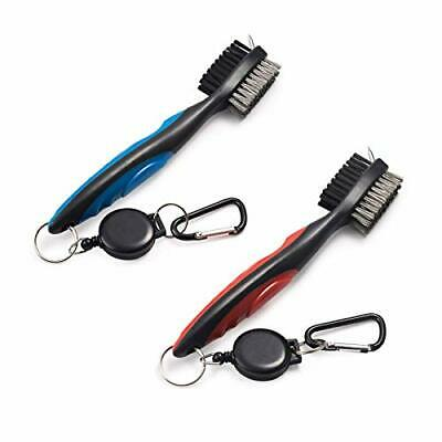 Pack Of 2 Golf Club Brush Groove Cleaner With Retractable Zip-line And Aluminum