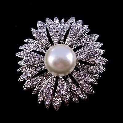 Flower Silver Crystal Rhinestone Faux Pearl Pin Brooch Bridal Bridesmaid