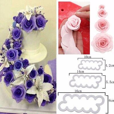 3PCS Rose Flower Fondant Icing Cake Chocolate Mould Cutter Bake Sugarcraft US