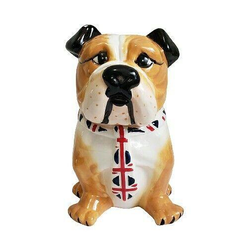 "English Bulldog w British Tie Cookie Jar 9.5"""
