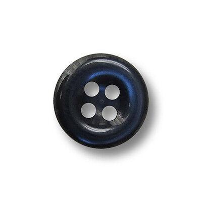 10 kleine dunkelblaue Vierloch Kunststoffknöpfe mit Perlmuttschimmer (1368bl-11) Blau 11