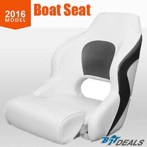 New 2016 Boat Seat Helm Chair Filp Up Bucket Seat WIth Bolster Black White