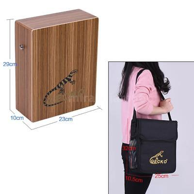 GECKO Traveling Cajon Box Drum Hand Drum Zebra Wood with Strap Carrying Bag A9F2
