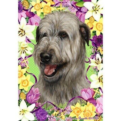 Easter House Flag - Grey Irish Wolfhound 33329