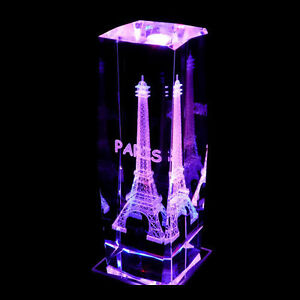 Eiffel Tower 3D Laser Etched Crystal + Display Light Base - Boxed - 6 In.-