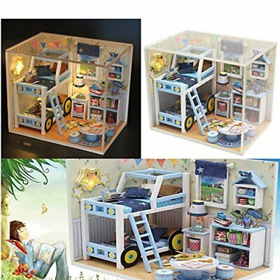 DIY Handcraft Miniature Project Kit Wooden Dolls House + LED Charles's Room