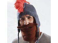 Beard Head yellow knitted beard and Spartan helmet