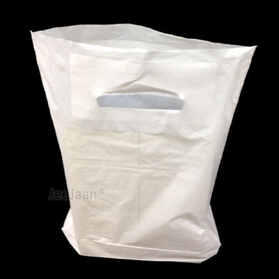 50 White Patch Handle Carrier Gift Retail Shopping Plastic Bags 14