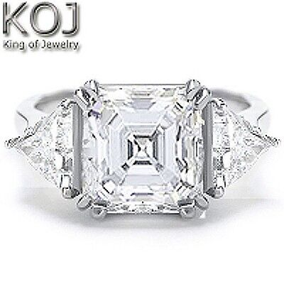2.50 Ct 3 Stone Asscher Cut & Trillion Diamond Engagement Ring GIA J,VS2 14K WG
