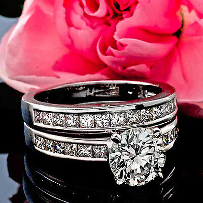 2 CT ROUND CUT DIAMOND ENGAGEMENT RING VS/D ENHANCED 14k WHITE GOLD