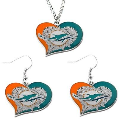 Miami Dolphins Fashion Jewelry Set Necklace-Earrings Team Logo Licensed NFL