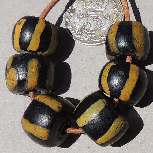 6 old antique venetian cylindrical striped fancy beads african trade #1683