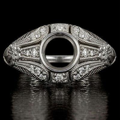 DIAMOND ANTIQUE SEMI-MOUNT 6mm ROUND BEZEL ENGAGEMENT RING COCKTAIL VINTAGE