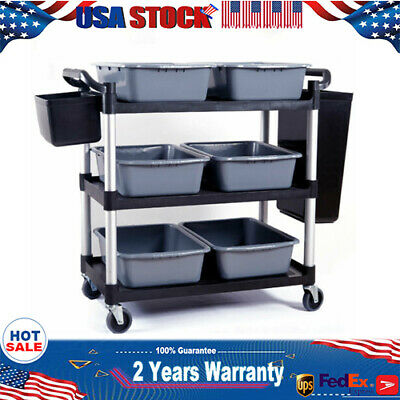 3 Layer Black Heavy Duty Rolling Utility Trolley Cart Mobile Storage Holder Usa