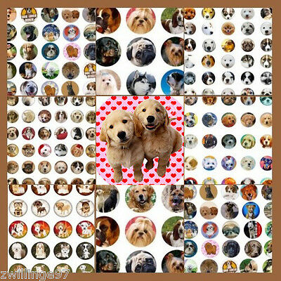 100 Precut assorted DOGS and PUPPIES BOTTLE CAP IMAGES Variety 1 inch circles