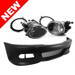 99-06 BMW E46 3-SERIES M3 STYLE FRONT BUMPER W/ ECODE FOG LIGHTS + FOG COVERS