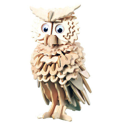 Eule Typ 1  3D Holzbausatz Uhu Kauz Greifvogel Holz Vögel Vogel Steckpuzzle Tier