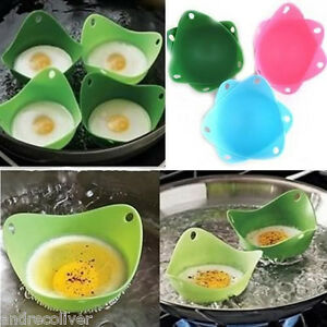 4x Silicone Egg Poacher Cook Poach Pods Kitchen Tool Cookware Poached Cup