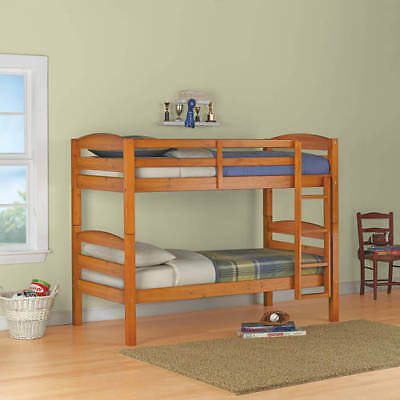 Bunk Bed Twin Over Twin Wood Convertible Bunkbeds Kids Ladder Furniture Pine