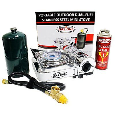 Gas One Propane   Butane Gs 800P Mini Dual Fuel Stainless Portable Camping Gas