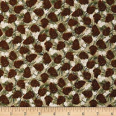 inter Wonderland Pine Cone Toss Off White - Benartex YARD (Winter White Wonderland)
