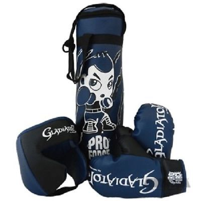 Deluxe Boxing Bag Gloves - Deluxe Youth Boxing Set, Gloves, Headgear, Punching Bag - Kids Training Gear Toy