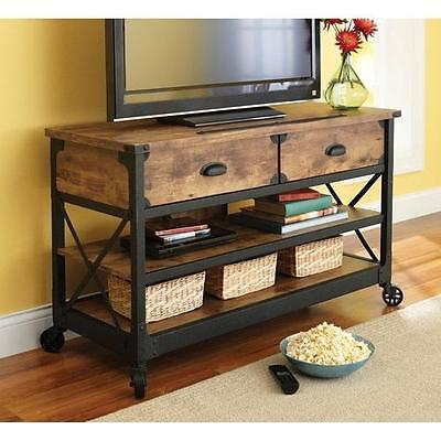 Rustic TV Stand Console 2 Drawers Restoration Industrial Vintage Look & Hardware ()