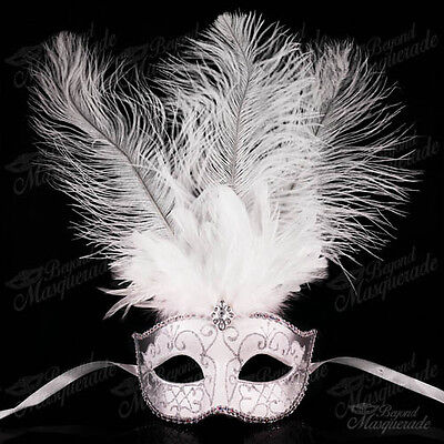 White Fashionable Venetian Feather Mask with Ostrich Feather -  Masquerade Masks
