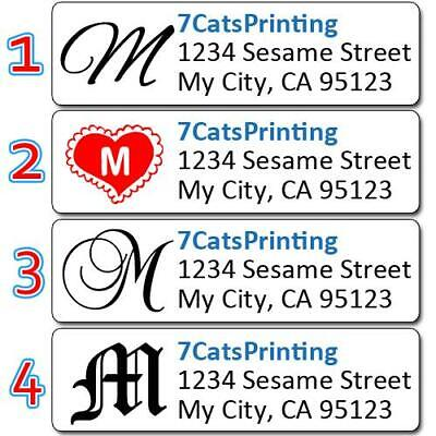 80 Monogram Return Address Labels Personalized Custom Printed