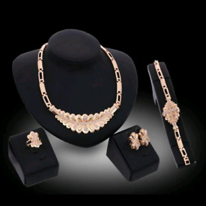 18K Gold Plated Wedding Crystal Set New W/Box