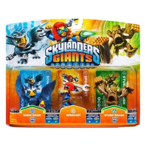 Skylanders Giants Triple Character Pack - Sonic Boom, Sprocket & Stump Smash NEW
