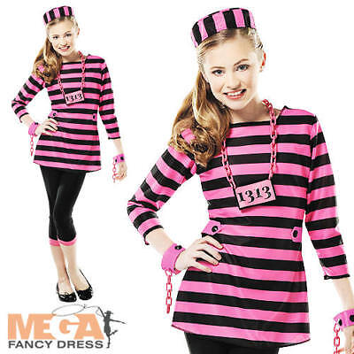 Kids Robber Costume (Prison Convict Girls 8-14 Kids Fancy Dress Prisoner Robber Uniform Teen)