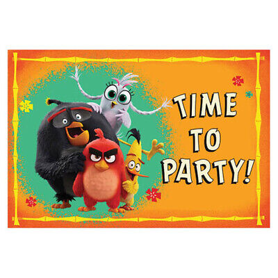 ANGRY BIRDS 2 INVITATIONS (8) ~ Birthday Party Supplies Invites Cards Stationery ()
