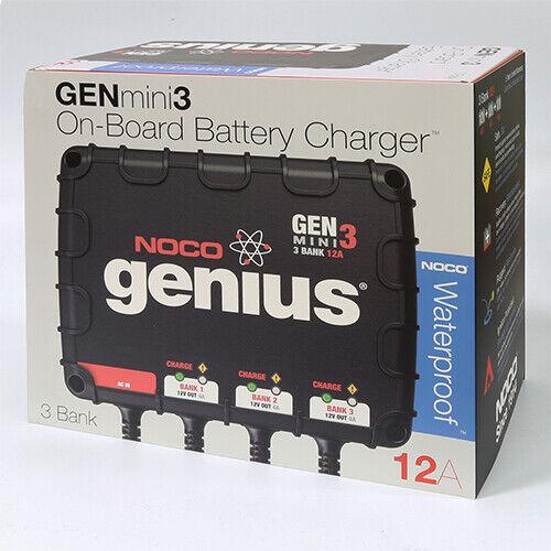 NOCO Genius GENM3 3-Bank 12A Waterproof On-Board Smart Battery Charger