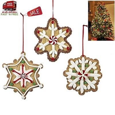 3 Pcs Candy Gingerbread Christmas Ornaments Snowflake Star Hanging Tree Decor US