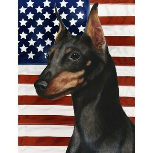 Patriotic (D2) Garden Flag - Black and Tan Miniature Pinscher 322221