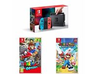 Nintendo Switch Neon 32GB Bundle Includes Mario Odyssey & Mario Rabbids - NEW