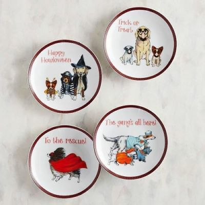 Set of 4 ~ Pier 1 HALLOWEEN DOGS in costumes Appetizer Plate Set Porcelain NWT (Halloween Appetizers)