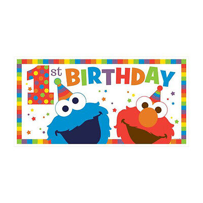 SESAME STREET Elmo Turns One JUMBO PLASTIC BANNER ~ Birthday Party Supplies](Sesame Street Birthday Banner)