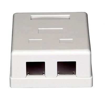 Keystone Jack Surface Mount Box - 2-Port Dual Keystone Jack Surface Mount Housing Box - RJ45 RJ12 RJ11 - White